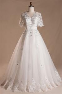 A Line V Neck Short Sleeve Tulle Lace Beaded Wedding Dress Keyhole Corset Back