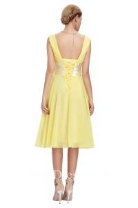 A Line V Neck Sleeveless Short Yellow Chiffon Bridesmaid Dress With Bow Corset Back