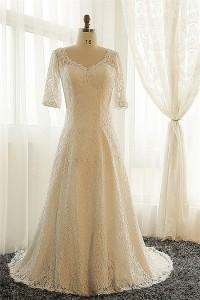 A Line V Neck Vintage Lace Sleeve Plus Size Wedding Dress Corset Back