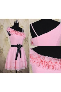 Asymmetrical A Line Short Pink Chiffon Floral Tiered Party Bridesmaid Dress With Sash