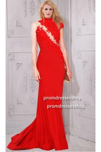 Asymmetrical High Neck Collar Red Satin Lace Evening Prom Dress