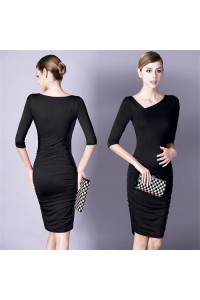 Asymmetrical Neckline Short Black Jersey Ruched Pregnancy Party Dress With Sleeves