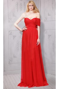 Asymmetrical Off The Shoulder Long Red Chiffon Ruched Evening Dress