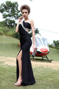 Asymmetrical One Shoulder Cut Out High Slit Long Black Jersey Beaded Prom Dress