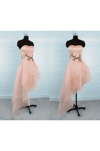 Asymmetrical Strapless High Low Peach Organza Beaded Party Prom Dress