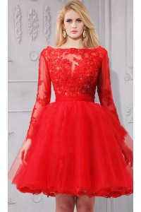 Ball Gown Bateau Neckline Short Red Tulle Lace Sleeve Prom Dress