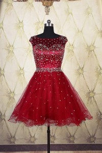 Ball Gown Boat Neck Open Back Short Red Tulle Beaded Tutu Prom Dress