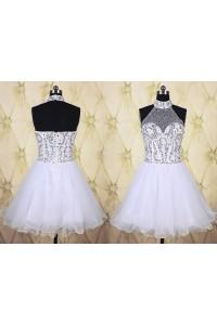Ball Gown High Neck Short White Tulle Beaded Tutu Prom Dress
