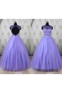 Ball Gown Illusion Neckline Open Back Lavender Tulle Beaded Prom Dress