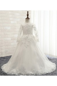 Ball Gown Long Sleeve Tulle Lace Beaded Little Girl Wedding Dress