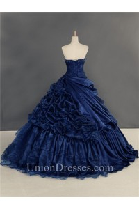 Ball Gown Navy Blue Organza Draped Quinceanera Prom Dress With Flowers