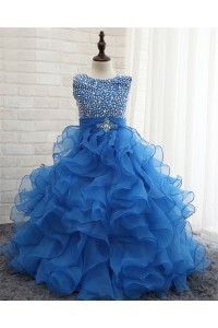 Ball Gown Round Neck Royal Blue Organza Ruffle Beaded Girl Prom Dress