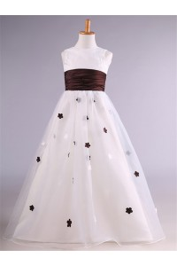 Ball Gown Satin Organza Applique Flower Girl Dress With Sash