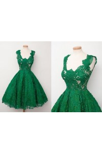 Ball Gown Scalloped Neck Short Emerald Green Lace Party Prom Dress