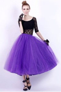 Ball Gown Scoop Neck Tea Length Black Lace Purple Tulle Prom Dress With Sleeves