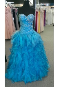 Ball Gown Sweetheart Corset Back Turquoise Blue Organza Ruffle Prom Dress