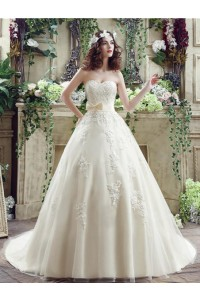 Ball Gown Sweetheart Cream Colored Satin Lace Wedding Dress With Bow Sash