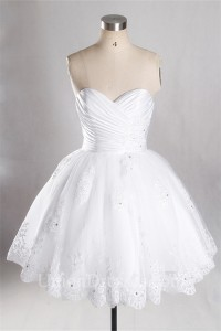 ball gown sweetheart ruched satin tulle lace beaded short