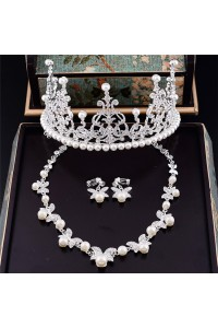Beautiful Alloy Pearl Wedding Bridal Tiara Crown Necklace Jewely Set