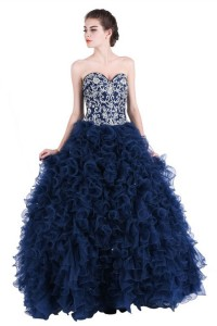 beautiful ball gown sweetheart navy blue tulle ruffle