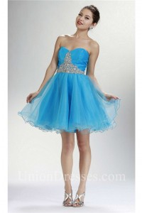 Beautiful Ball Strapless Short Sky Blue Tulle Beaded Cocktail Prom Dress