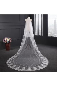 Beautiful Two tier Tulle Vintage Lace Wedding Bridal Cathedral Veil