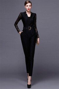 Black Jersey Lace Long Sleeve Formal Occasion Evening Jumpsuit
