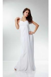 Charming Halter Empire Waist White Chiffon Destination Beach Wedding Dress