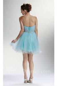 Charming Strapless Short Mini Baby Blue Tulle Beaded Cocktail Prom Dress