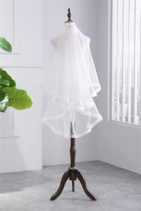 Charming Tulle Ribbon Wedding Bridal Fingertip Veil