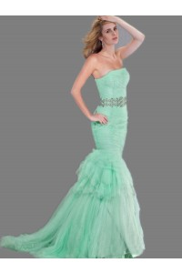 Chic Mermaid Strapless Mint Green Tulle Ruched Prom Dress With Beading