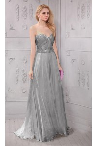 Chic Strapless Sweetheart Long Silver Chiffon Event Prom Dress
