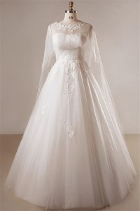 Classic A Line Strapless Curve Tulle Lace Plus Size Wedding Dress With Cape