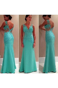 Classic Mermaid V Neck Mint Green Satin Lace Prom Dress