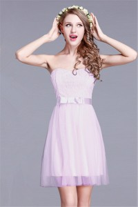 Classy A Line Sweetheart Short Lilac Lace Tulle Party Bridesmaid Dress With Sash