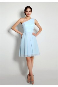 Cute A Line One Shoulder Light Blue Chiffon Bridesmaid Party Dress