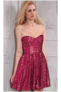 Cute A Line Strapless Short Mini Claret Sequin Party Prom Dress