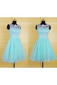Cute Ball Gown Short Mint Green Tulle Ivory Lace Tutu Prom Dress