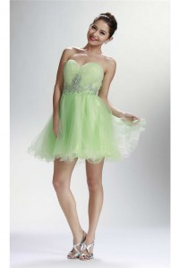 Cute Ball Strapless Short Lime Green Tulle Beaded Cocktail Prom Dress
