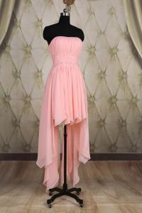 Cute High Low Hem Strapless Pink Chiffon Ruffle Beaded Party Prom Dress