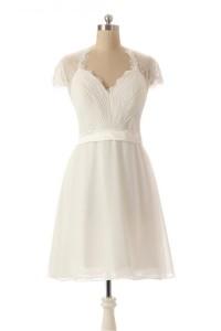 Cute Queen Annie Neckline Cap Sleeve Short Lace Chiffon Bridesmaid Party Dress
