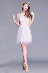 Cute Sheath Short Lilac Tulle Lace Wedding Party Bridesmaid Dress With Straps
