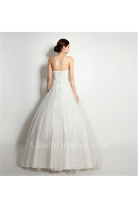 Elegant Ball Gown Strapless Tulle Lace Applique Wedding Dress Corset Back