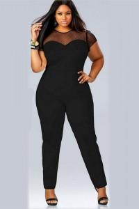 Elegant Cap Sleeve Black Tulle Jersey Plus Size Women Jumpsuit