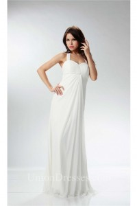 Elegant Halter Empire Waist Ivory Chiffon Ruched Beach Wedding Dress