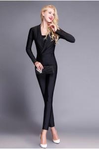 Elegant Long Sleeve Black Jersey Formal Occasion Evening Jumpsuit