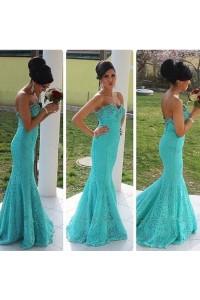 Elegant Mermaid Strapless Sweetheart Aqua Lace Beaded Prom Dress