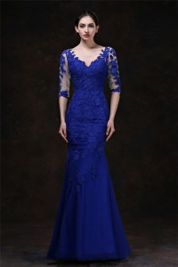 Elegant Mermaid V Neck Royal Blue Tulle Lace Special Occsaion Evening Dress With Sleeves