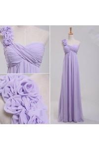 Elegant One Shoulder Empire Waist Long Lavender Chiffon Bridesmaid Dress Flowers Strap