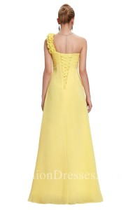 Elegant One Shoulder Empire Waist Long Yellow Chiffon Bridesmaid Dress